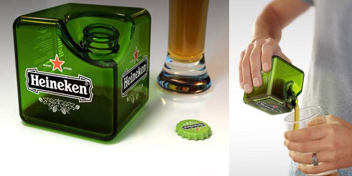凄まじい省スペース化!重ねて置けるキューブ型のビール瓶『Heineken Cube』