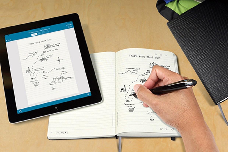 手帳に書いたものがタブレットに同時転送されるモレスキン『Livescribe』