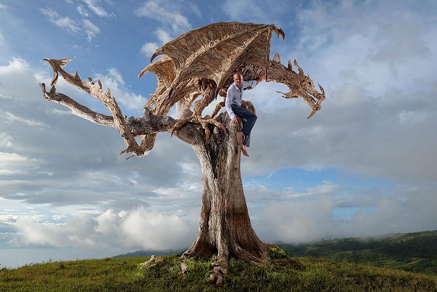 すべての折り紙 ドラゴンの折り紙 : Driftwood Sculpture Dragon