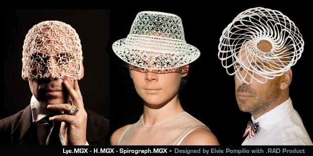 .MGXが3Dプリンターで作られたファッション帽子を発表!麦わら帽子っぽい(左と右は釣りか)